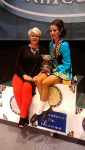 Gavina with proud teacher, Frances and the All Ireland CUP!